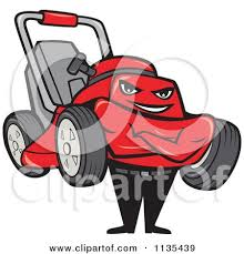 lawnmower man clipart. clipart of a lawn mower man with folded arms - royalty free vector illustration by patrimonio lawnmower e