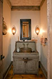 powder room furniture. Astounding Traditional Powder Room Decor With Reclaimed Wood Rustic Vanity Single Pottery Sink As Well Wall Lights Between Square Mounted Furniture B