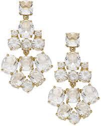 new york earrings gold tone clear glass chandelier earrings clear earrings by kate spade