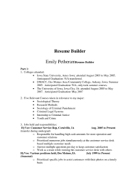 College Resume Builder Resume Templates