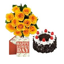 a special dozen beautiful 12 yellow roses bunch with 1 2 kg cake of your choice is a nice way to brighten this day and also a fathers day card to express
