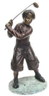 bronze boy playing golf garden statue available at allsculptures lost wax casting sculpture