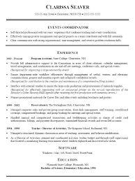 event resume samples