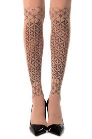 Patterned Hosiery Enchanting Frozen Print Patterned Tights In Nude Zohara Nude Tights Print