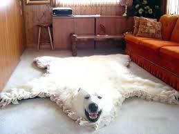 faux bear skin rug fake polar with head taxidermy for white