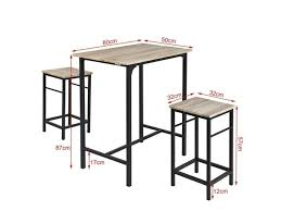 Set De 1 Table 2 Tabourets Avec Repose Pieds Table Mange Debout