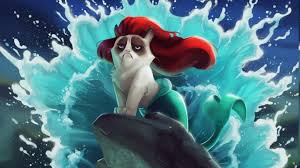 tumblr backgrounds the little mermaid. Exellent The Cat Grumpy Cat The Little Mermaid Disney Humor Wallpapers HD  Desktop  And Mobile Backgrounds Intended Tumblr Mermaid S