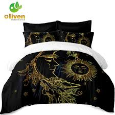 golden mandala bedding set moon star black duvet cover boho india elephant bed linens flat sheet pillowcase ropa de cama d45 duvets covers cotton
