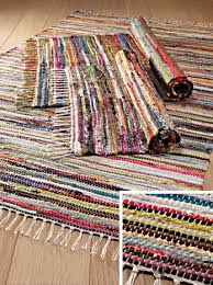 multi colour recycled cotton rag rug 60 x 90cm