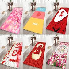 valentine s day love flower pattern thick flannel carpet rug non slip backing soft floor mat for home hotel living room bedroom frieze area rugs plush