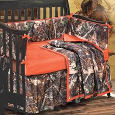 orange and camo crib set 4 pcs