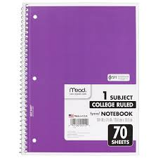 Mead Spiral Notebook College Ruled 1 Subject 70 Sheets 8 X