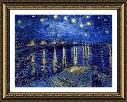 framed poster starry night over the rhone vincent van gogh oil painting print