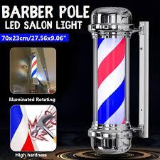 Us 87 44 41 Off 110v 220v Led Barber Shop Sign Pole Light Red White Blue Stripe Design Roating Salon Wall Hanging Light Lamp Beauty Salon Lamp In