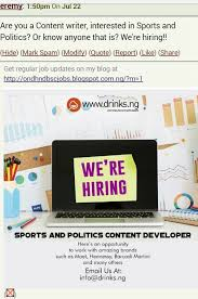 am looking for a job as a football article writer or any sport am looking for a job as a football article writer or any sport related job jobs vacancies ia