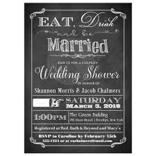 Couple Wedding Shower Invitations Couples Wedding Shower Invitation Faux Chalkboard Eat Drink And Be Married Modern Typography