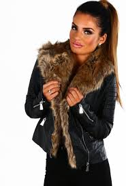 uh huh honey black faux leather fur trim biker jacket