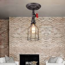 image of industrial semi flush mount ceiling light