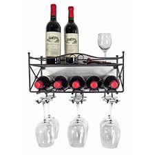 w a wall mounted wine rack with shelf
