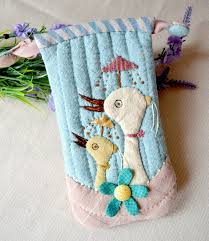 quilted ipod phone holder fabric phone case photo sewing