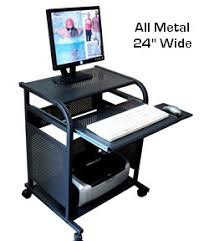24 inch narrow black all metal computer cart portable small mobile computer desk made 100 black metal computer desk