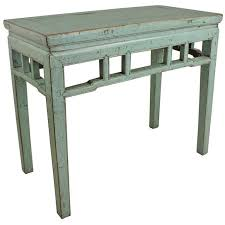vintage console table. Light Blue Painted Vintage Chinese Console Table For Sale E
