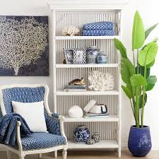 blue and white furniture. White Bamboo Bookcase Styled With Blue And Accessories. Furniture S