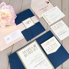 Pink And Navy Pocket Wedding Invitations