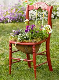 Terrace and Garden: Garden Chair Planters Decorating Ideas - Chandeliers
