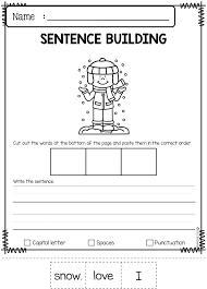 Kindergarten Sentence Writing Worksheets Building Free Printable For ...