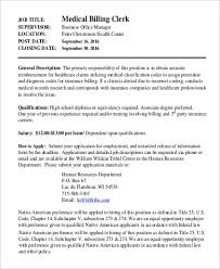 Sample Medical Billing And Coding Job Description 9 Examples In