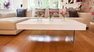 white oak veneer and glass coffee table