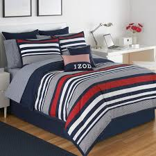 izod varsity stripe 4 piece comforter set in red white and blue stripes