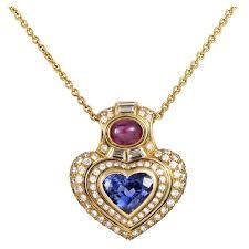 bulgari precious gemstone gold heart pendant necklace for