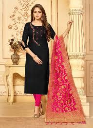 Cotton Churidar Dress Design Patterns Black Casual Cotton Churidar Designer Suit