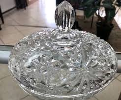 vintage wide leaded crystal cut glass candy dish with lid gorgeous