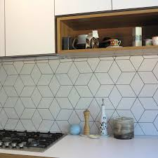 Kitchen Tiles For Splashbacks Beautiful Geometric Tiled Splashback White Kitchen Timber