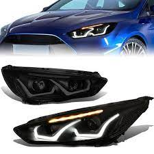 15 18 Ford Focus Led Drl Turn Signal Projector Headlights Tinted Housing Ford Focus Ford Fusion Custom Headlights