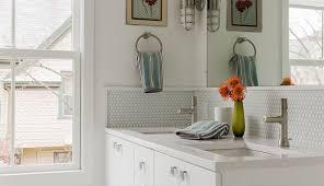 white penny tiles for bathroom backsplash