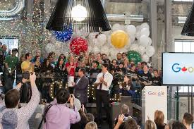 google office in america. interesting america 1 grand opening with the prime minister google inside google office in america