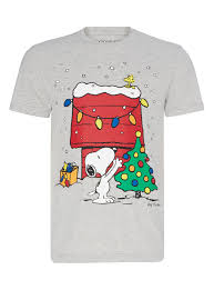Mens Grey Christmas Snoopy T-shirt | Tu clothing