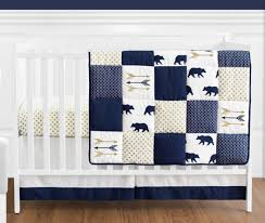 navy blue gold and white patchwork big bear boy baby crib bedding set without per by sweet jojo designs 4 pieces