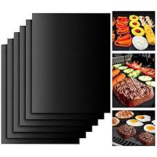 BBQ <b>Grill Mat</b> Black Big Picnic <b>Heat Resistant Non</b>-<b>Stick Teflon</b> ...