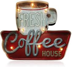 Wall decor offers an easy way to experiment with room makeover without making a huge commitment. New Vintage Style Retro Metal Wall Hanging Sign Espresso Variations Latte Etc Home Decor Home Garden