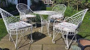 wrought iron garden furniture antique. refurbished vintage white wrought iron garden furniture set 4 chairs and a table antique i