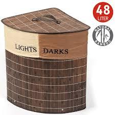 Bamboo Barrel Lights Buy Tatkraft Monaco Corner Bamboo Laundry Basket With Cotton