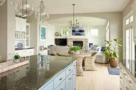 open concept kitchen living room and dining area