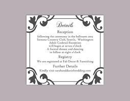 Wedding Enclosure Card Template Diy Wedding Details Card Template Editable Word File Instant