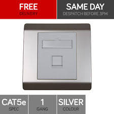 ethernet cat 6 plugs jacks and wall plates rj45 face plate wall socket cat5e ethernet single wall outlet 1 port silver