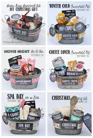 gifts in a tin some wonderful ideas all 6 gift basket ideas e with free s and labels and a list of suggested items snow day survival kit